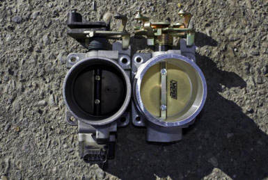 Stock Style BBK Throttle Body with One Side Gunked Up