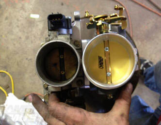 Upgraded BBK Mustang Throttle Body Showing Build Up on One Side