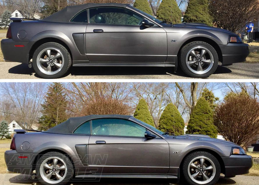 Before and After 1999-2004 Convertible Mustang on Lowering Springs