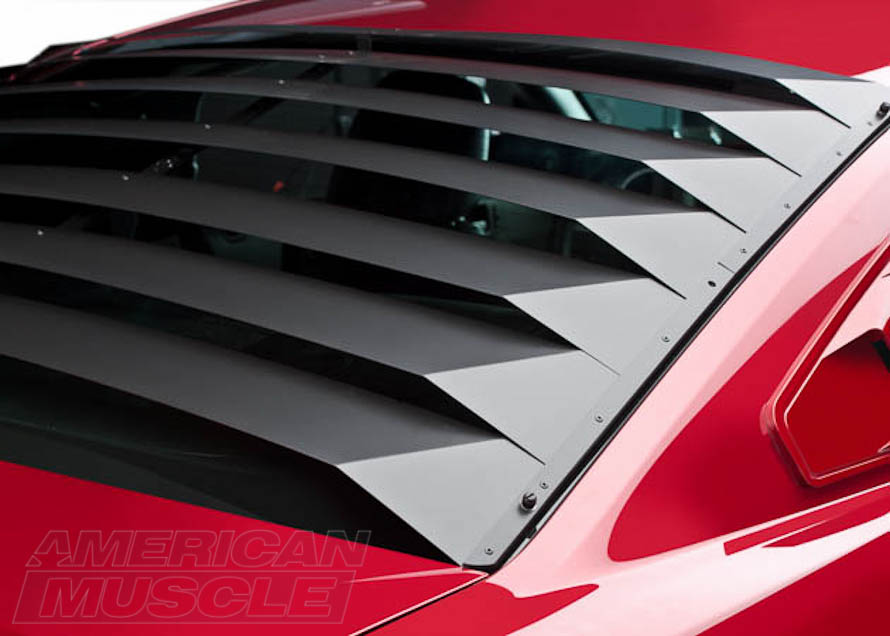 Mustang Aluminum Rear Window Louvers Close-Up