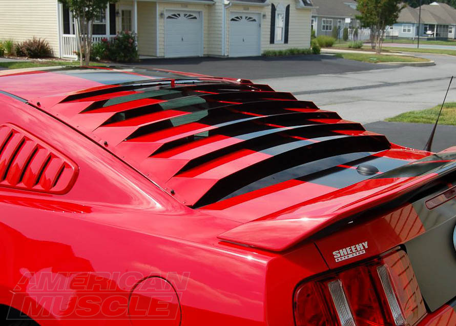 Painted, Aluminum Rear Window Louvers on a 2010-2014 Mustang