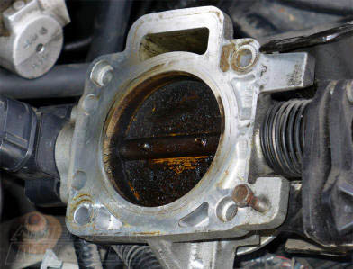 Carbon Build-Up on a Mustang Throttle Body