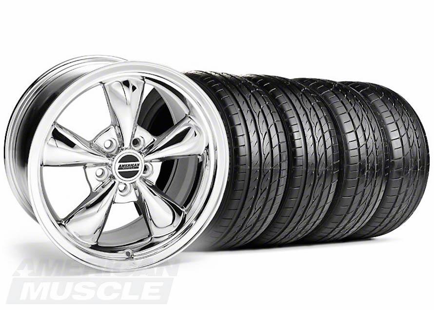 Chrome Bullitt Wheel and Tire Mustang Set