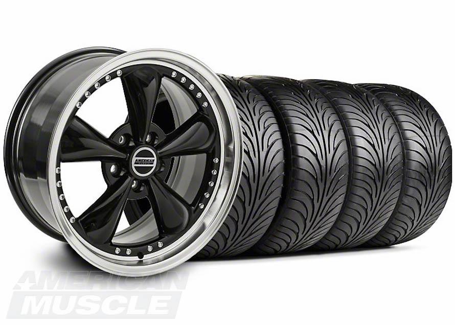 Riveted Bullitt Black Rim and Tire Set for 2010-2014 Mustangs