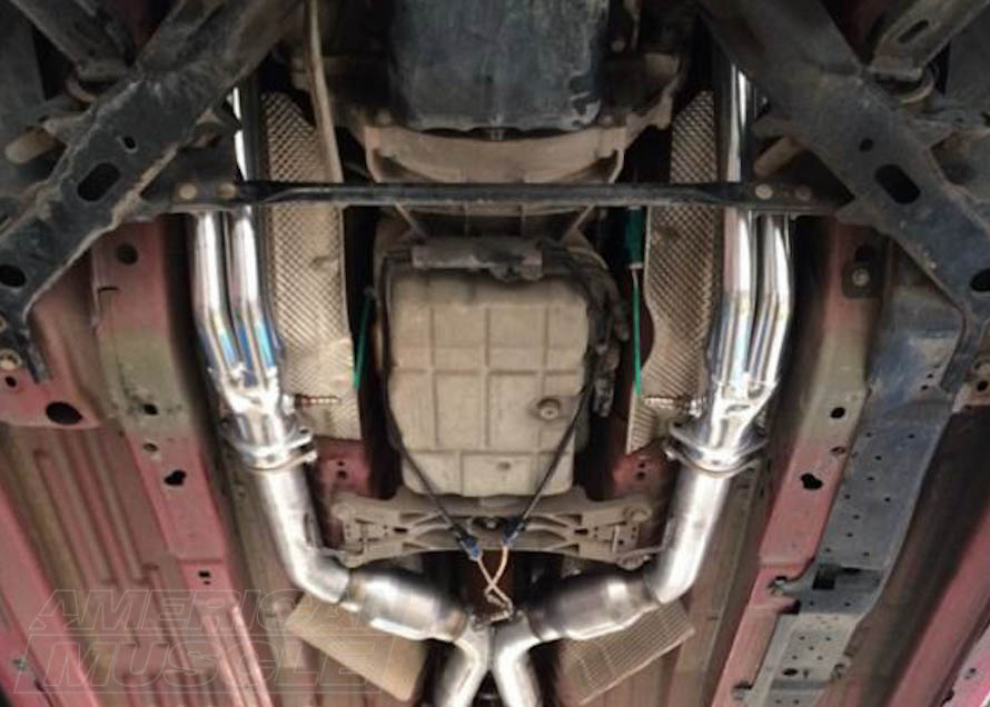 Underside of a Mustang with Long Tube Headers