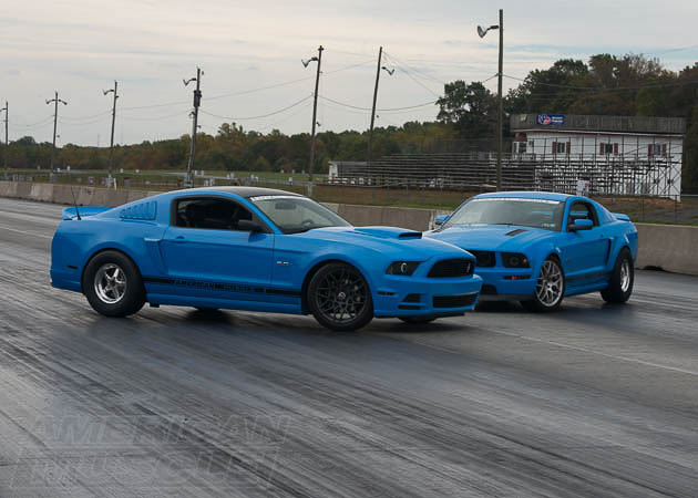 A 2014 and a 2006 GT Mustang at the Drag Strip