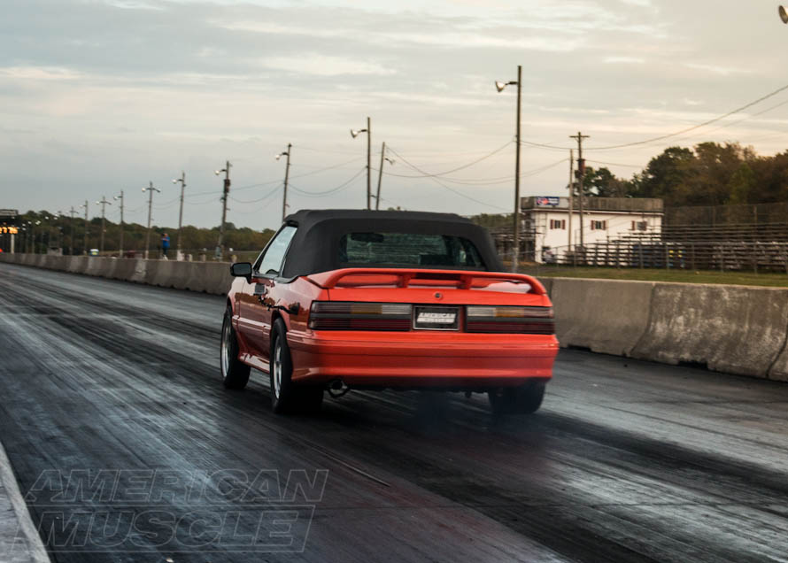 Foxbody Convertible at the Drag Strip