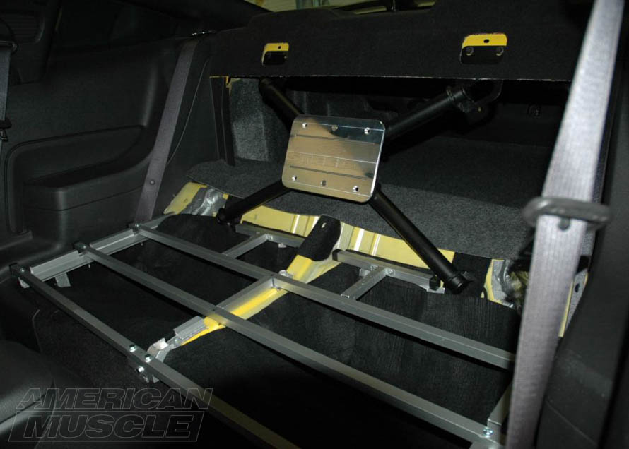 Mustang Rear Seat X-Brace Installed with a Plate