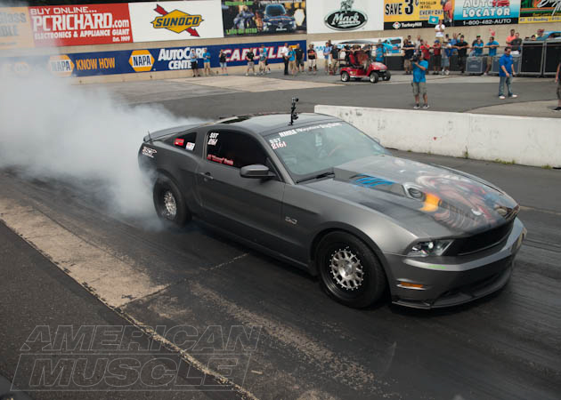 Drag Mustang Doing a Burn Out
