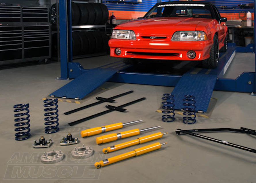 Foxbody Mustang Surrounded By Suspension Parts