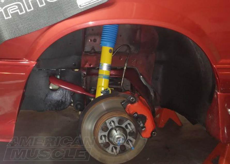 HD Bilstein Front Strut Installed on a Foxbody Mustang