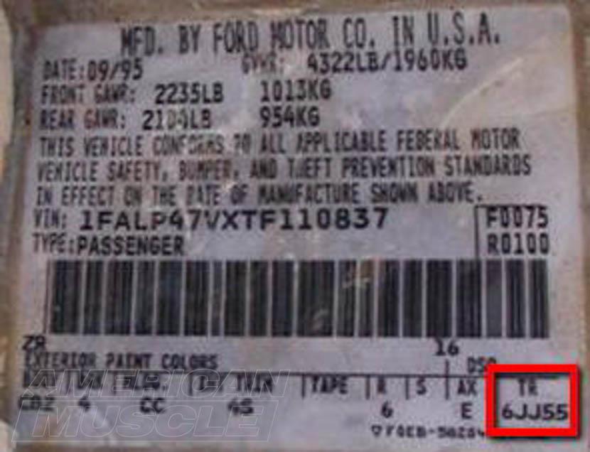 Mustang Transmission Tag Identifier
