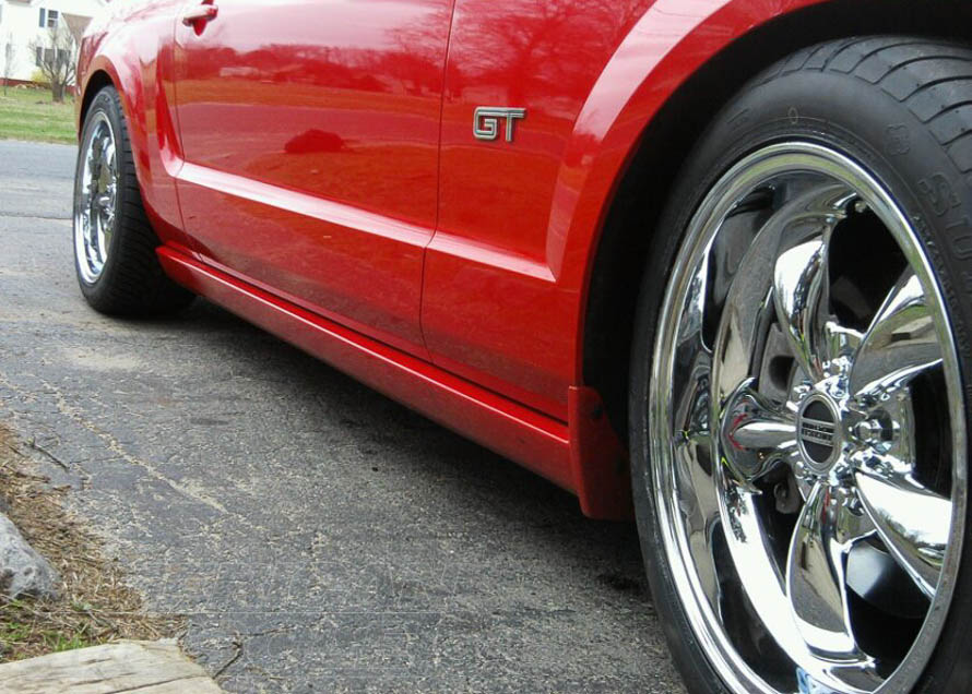 Chrome Bullitt Wheels on an S197 Mustang