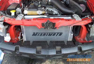 Installed Mustang Aftermarket Radiator