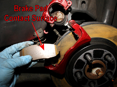 Mustang Brake Pad Friction Surface Exposed