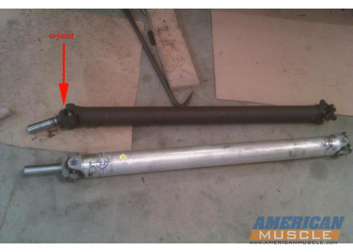 Stock Driveshaft Next to an Aluminum One