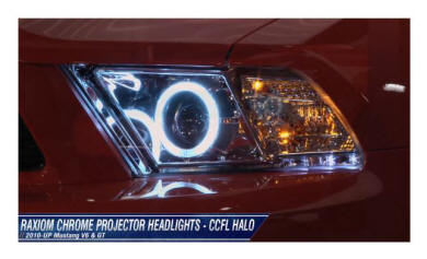 Chrome CCFL Halo Style Mustang Headlight