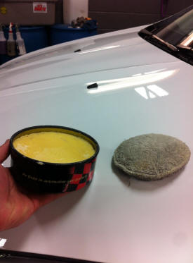 Carnauba Car Wax Sitting a mustang Hood