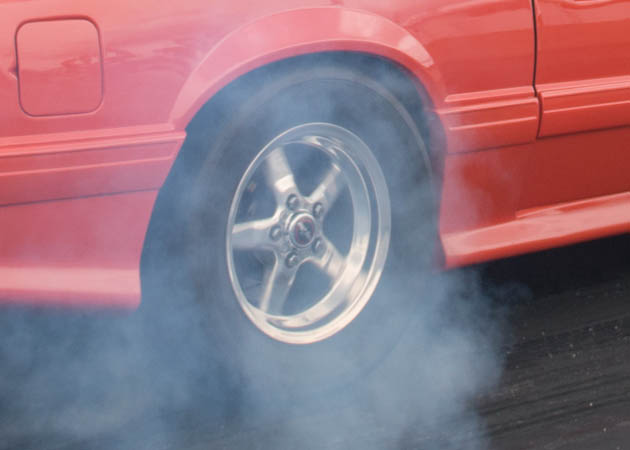 Foxbody Mustang Doing a Burnout