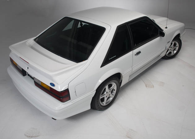 White Foxbody Rear Side View
