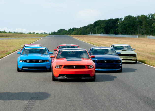 A Group of AmericanMuscle Mustangs at the Track
