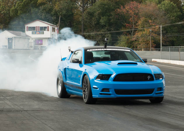 2014 Mustang GT Doing a Burnout at the Drag Strip