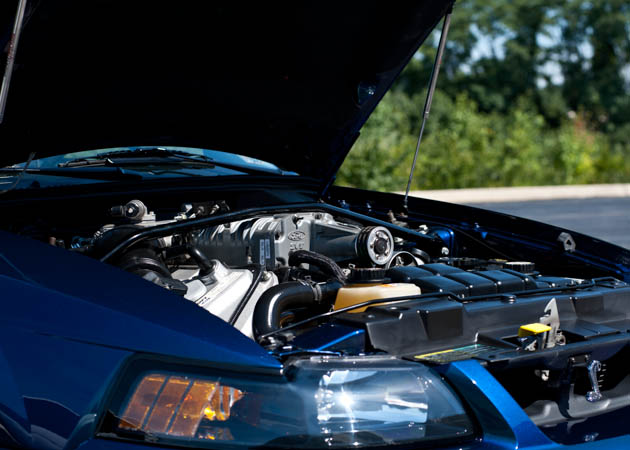 1999-2004 Mystachrome Mustang with a Strut Tower Brace