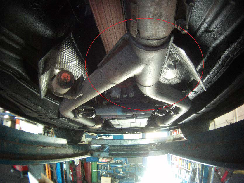 4- Loosen and remove the cl&s on the Y-pipe and the one on the muffler (15mm). You can use penetrating oil at this point if needed. & How to Install Ford Racing True Dual Exhaust on your 2005-2009 ...