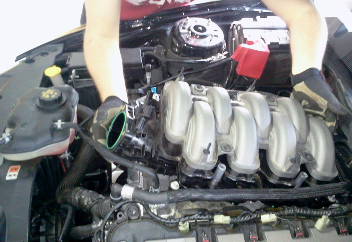 How To Install A Boss 302 Intake Manifold On Your 2011 2013 Mustang 2000 Ford Purge Valve Location Two Are Located Near The Rear Corner Retaining Bolts Only 3 Pictured Because I Broke One Of Mine Off Pull Stock Up And Out
