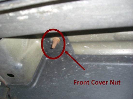 there is also a bolt that can be removed with a 10mm socket located in the  center cover by the fuel filter location