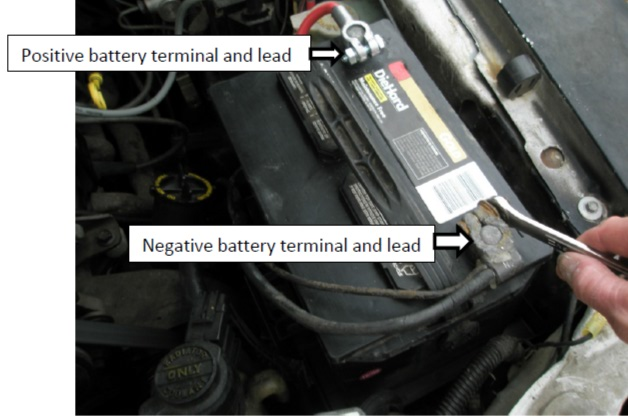 Disconnect The Positive Battery Terminal With A ½ Inch Open End Box Wrench Using 10mm Socket And Ratchet Remove Hold Down Bolt