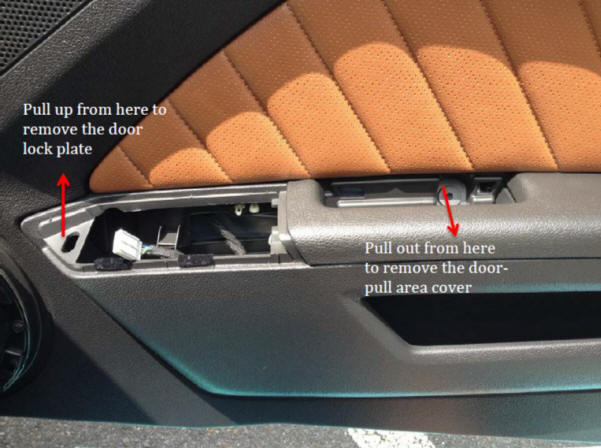 how to install an interior door handle on your 2005 2014 mustang americanmuscle. Black Bedroom Furniture Sets. Home Design Ideas