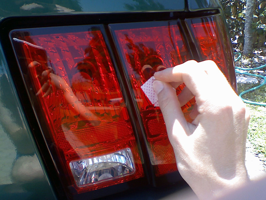 Mustang taillight cover installation guide 99 04 americanmuscle remove the tabs from the double sided tape and align the tail light covers with the top outside corner of the tail lights then press the tail light covers aloadofball Choice Image