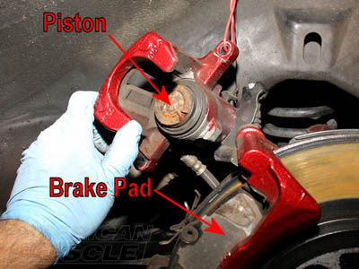 Mustang Brake Caliper and Brake Pad Exposed