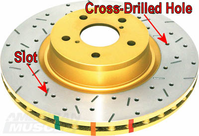 Mustang Brake Rotor with Slots and Cross Drilled Holes