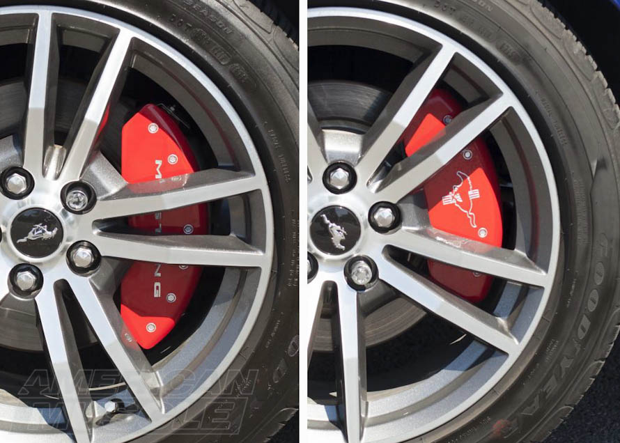 Red Caliper Covers with Pony Logo for 2015-2017 Mustang V6s and EcoBoosts
