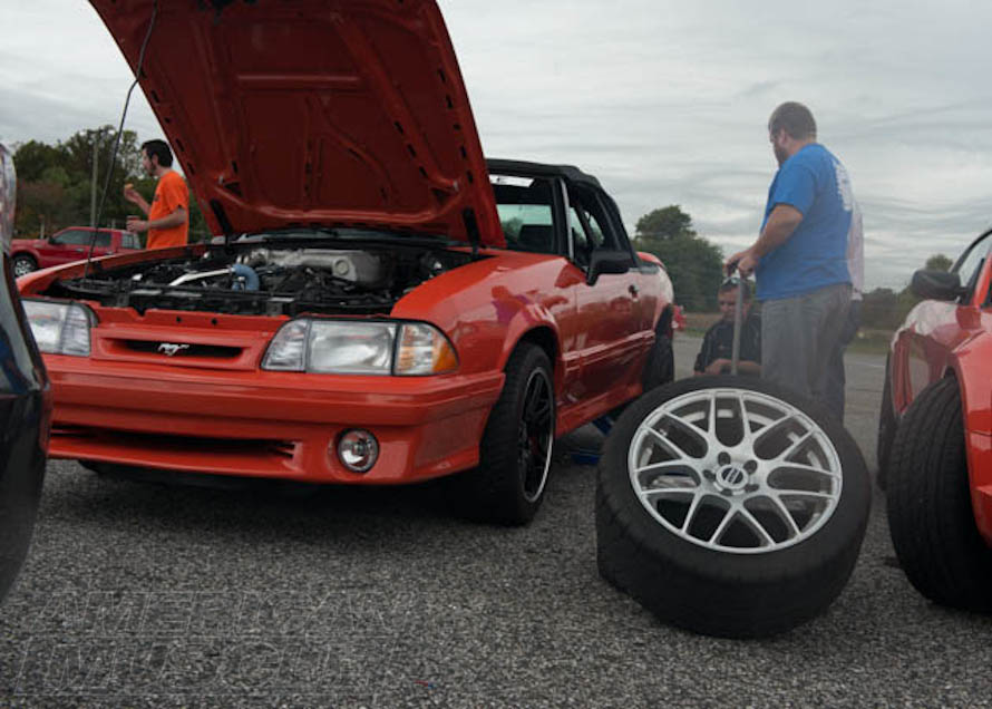 Foxbody Convertible Changing Tires at the Drag Strip