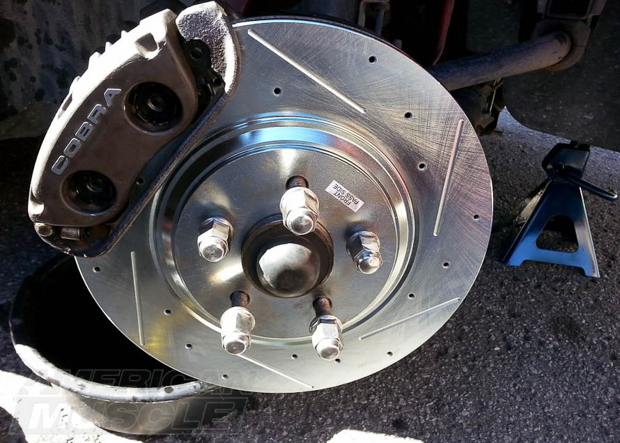 Zinc Coated Slotted and Drilled Rotor Installed on a 1994-2004 Cobra Mustang