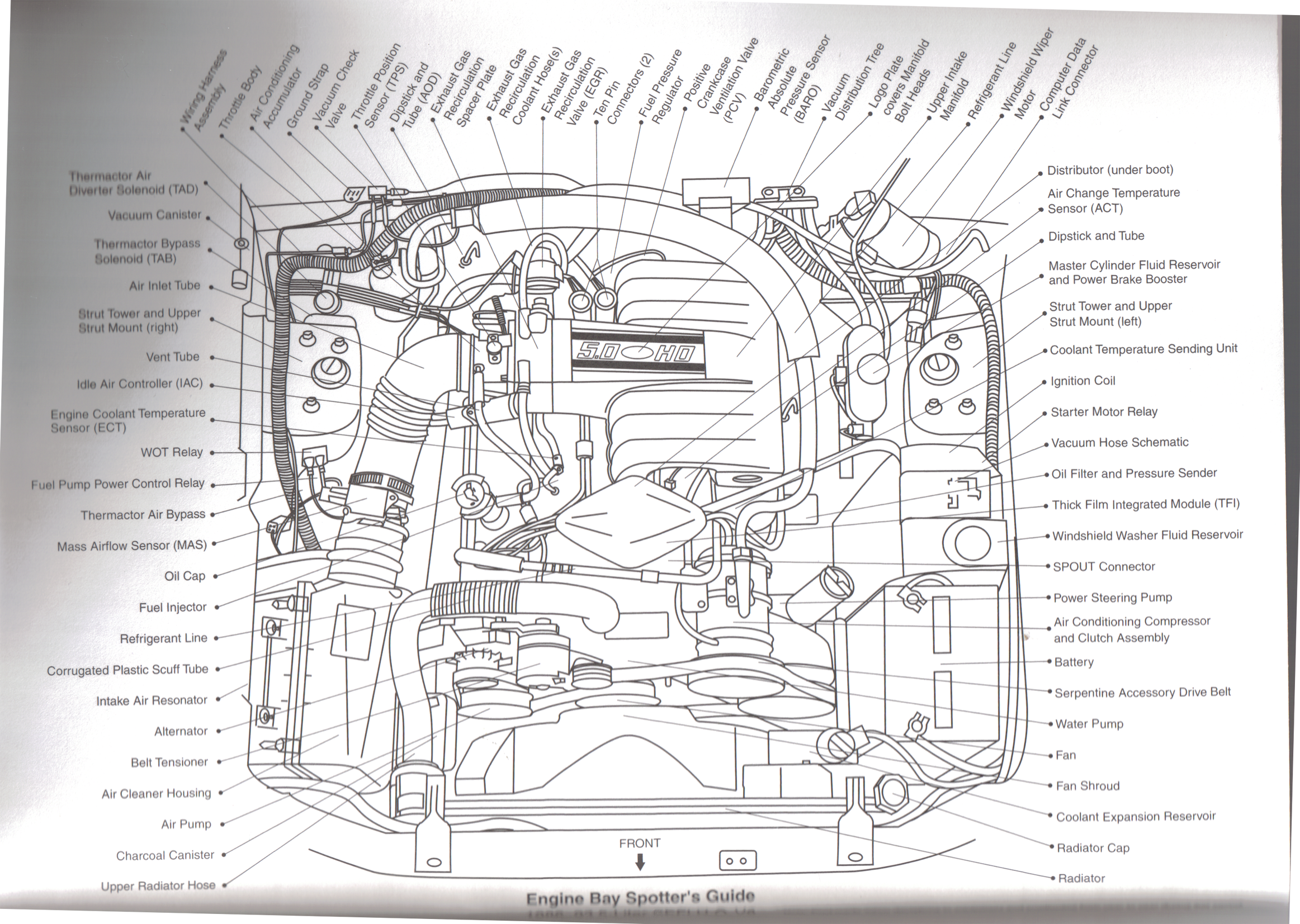 1987-1993 Foxbody 5.0 SEFI V8 Engine Part Diagram