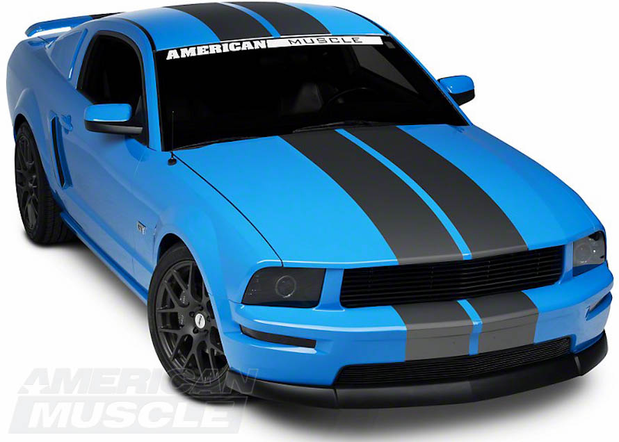 Matte Black Lemans Racing Stripes for Mustangs