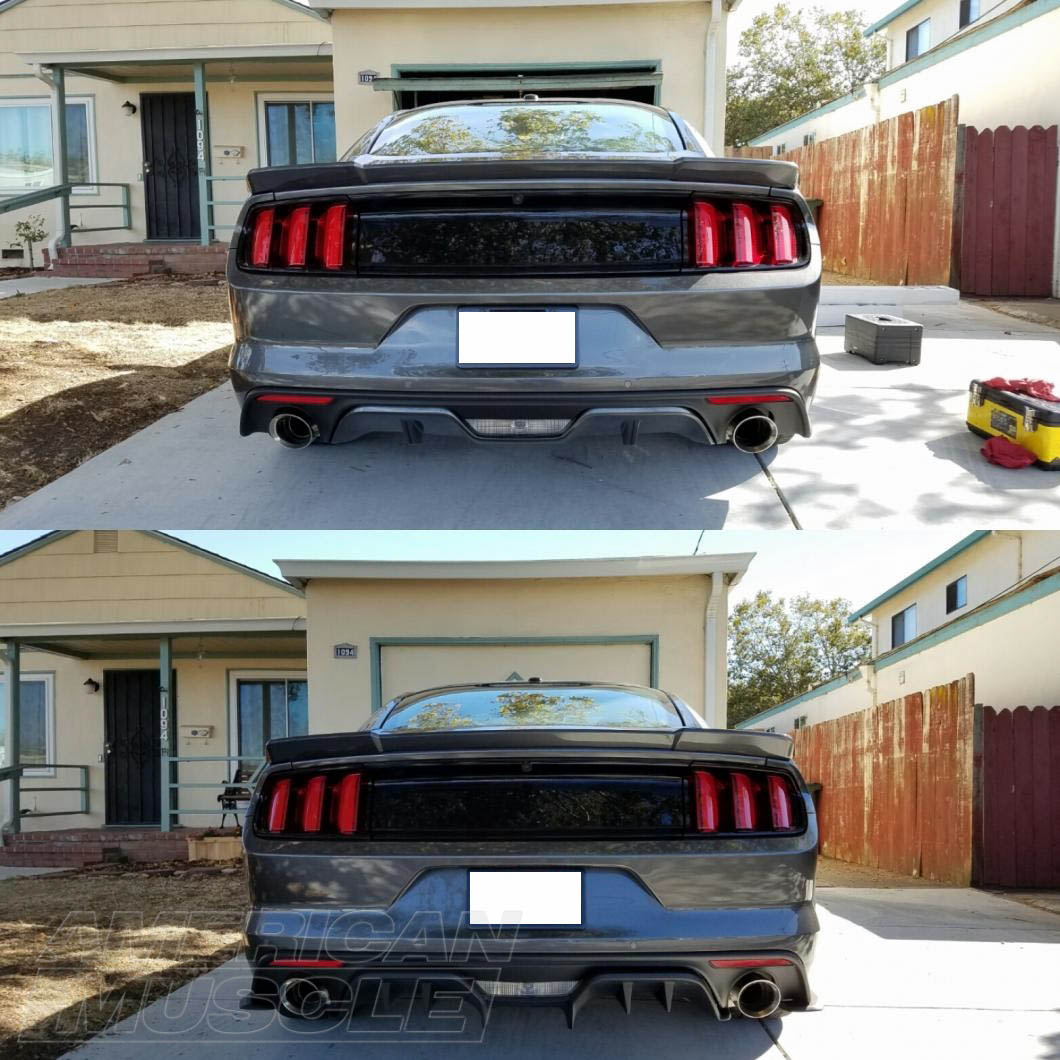 Before and After Installation of a Rear Diffuser on a Premium S550 Mustang