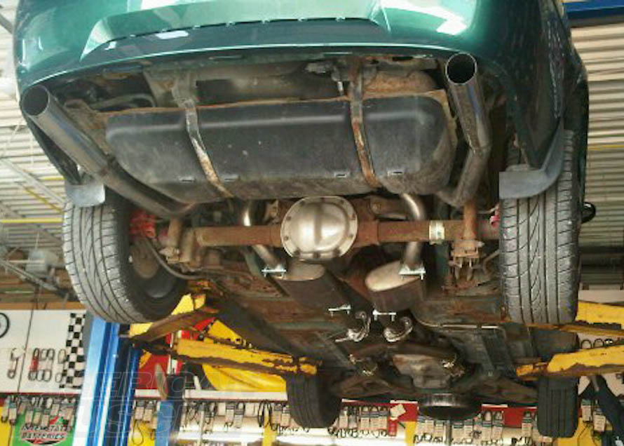 Pypes Dual, Catted Exhaust System Installed on a 1998-2004 Mustang V6
