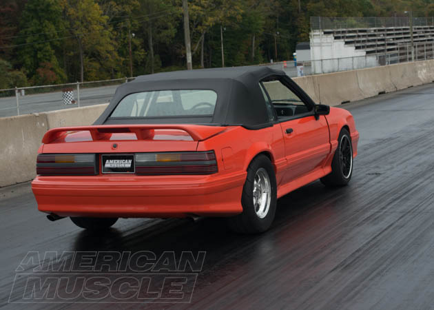 Convertible Foxbody Mustang with Drag Tires