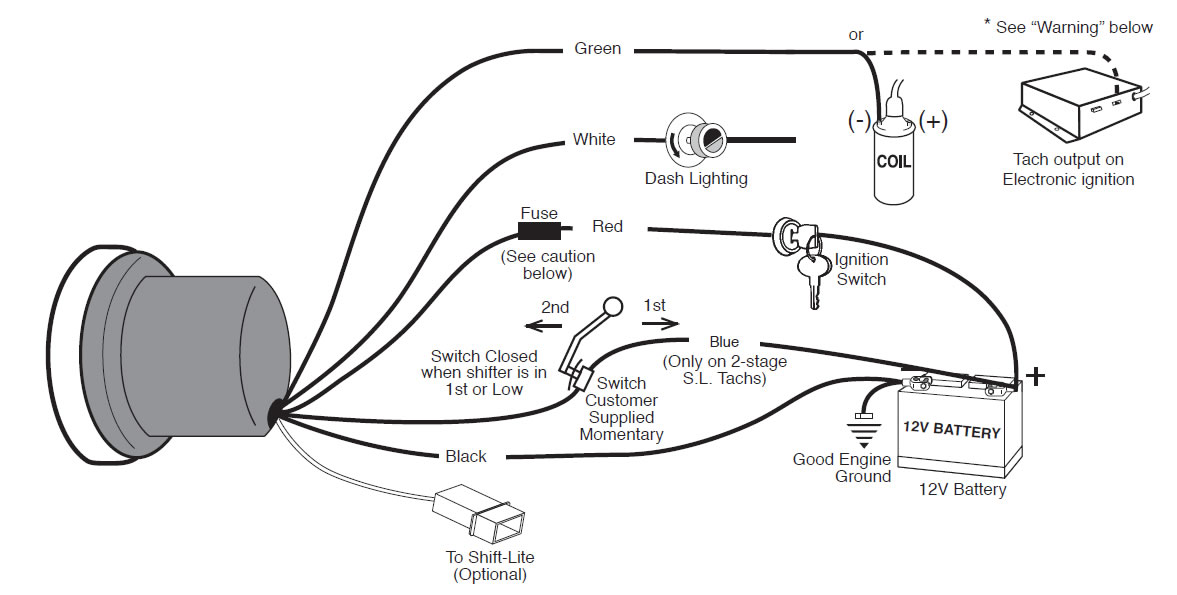 Wiring diagram for auto gauge tachometer schematics wiring diagrams how to install an auto meter sport comp 5in tachometer w shift rh americanmuscle com auto meter wiring wiring diagram for autometer tachometer asfbconference2016