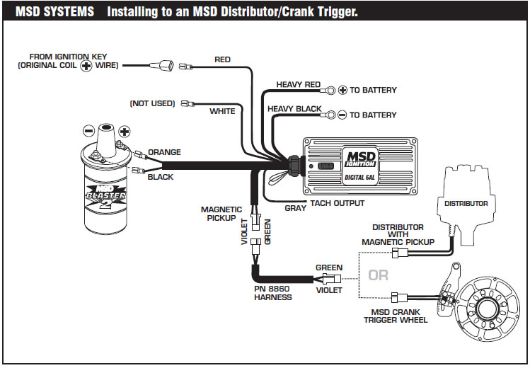 How to install an MSD 6A Digital Ignition Module on your 1979-1995 Two Wire Alternator Wiring Diagram Ford on 70 ford f100 alternator diagram, ford internal regulator alternator diagram, 1981 f150 alternator wire diagram, ford 3 wire alternator diagram, 1980 ford alternator connector, ford 8n tractor wiring diagram, 1980 ford charging diagram, 1990 ford ranger engine diagram, 1980 ford 300 alternator wiring, 1972 ford alternator diagram, 1978 ford 1g alternator diagram, 1980 ford truck alternator diagram, alternator voltage regulator diagram,