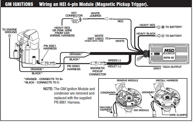 how to install an msd 6a digital ignition module on your 1979 1995 rh americanmuscle com msd 6a wiring diagram for gm hei ignition msd 6a wiring diagram for gm hei ignition