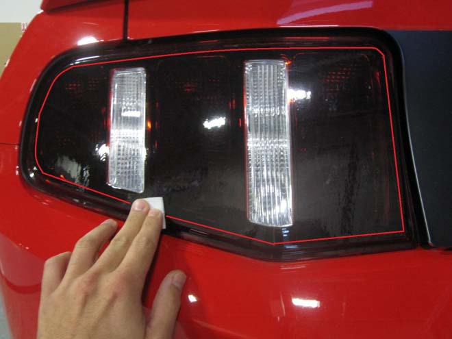 How to install mmd matte black tail light trim on your 2010 2012 use the supplied alcohol pads to thoroughly wipe down the areas where the adhesive tape from the tail light trim will contact the tail light shown in red aloadofball Choice Image
