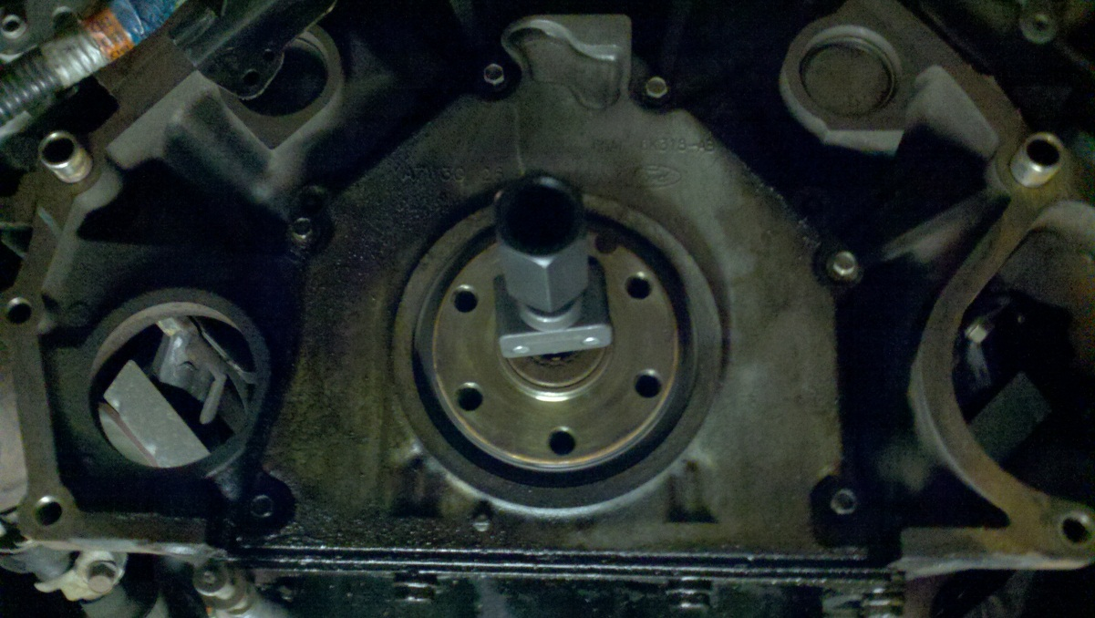How To Install A Clutch And Pilot Bearing On Your 2001 2004 Gt 2010 Ford F 150 Fuel Filter Wrench Use The Rented Puller Tool Insert Into Expand Until Locked In Slots Were At 6 12 Oclock My Stock