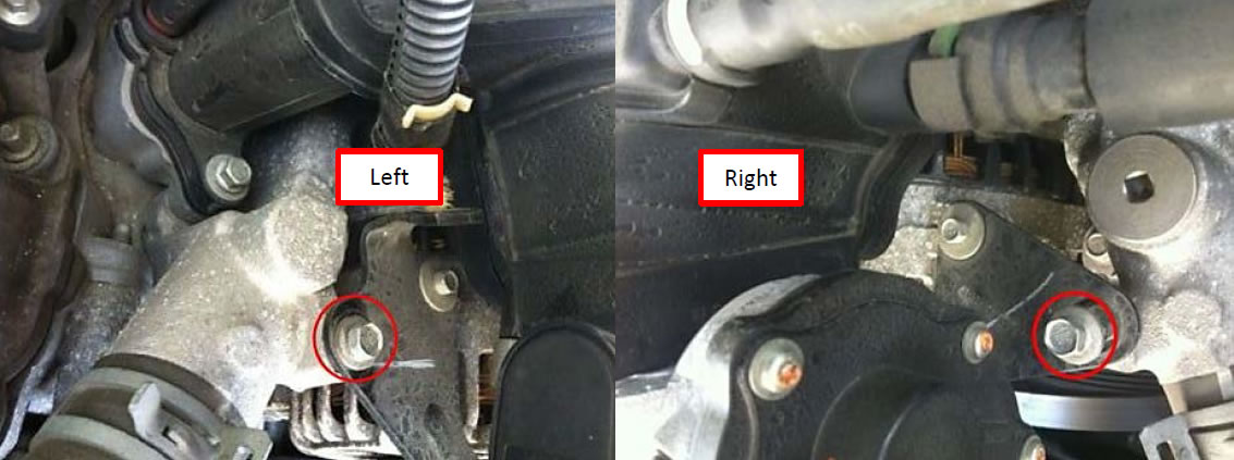Remove The 2 Bolts On Upper Alternator Bracket Using A 10mm Wrench Or Socket