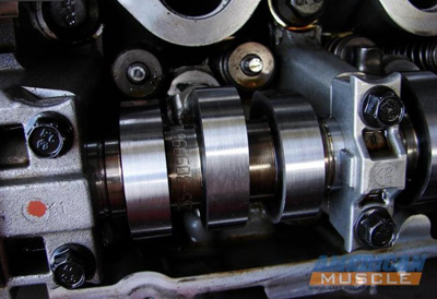 Close Up of a Camshaft Installed on a Mustang